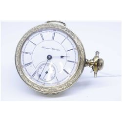 Hampden size 18, 15 jewel pocket watch, serial # 1350997 dates this watch to 1899, full nickel plate