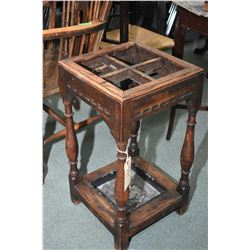 Antique English oak, four place stick/umbrella stand with drip tray