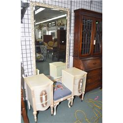 French style painted side tables that started life as a vanity plus a matching needle upholstered co