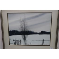 Framed original watercolour painting of rural winter fence line scene signed by artist Ron Finch, 14