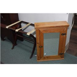 Vintage folding suitcase stand a single door mirrored pine medicine cabinet