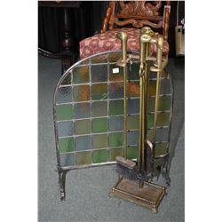 Antique leaded glass fireplace screen and bird motif fireside companion set