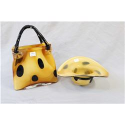"""Two pieces of art glass including a hat shaped bowl and a 11 1/2"""" matching purse"""