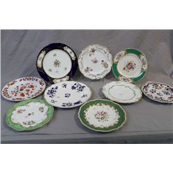 Selection of vintage china plates including Spode, Myotts, Copeland, hand painted etc.