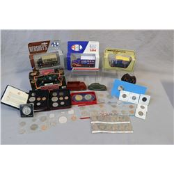Selection of collectibles including die cast and rubber toy cars, a selection of coins including dec
