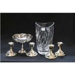 """I.G. Durand, France crystal vase 9 1/2"""" in height, four 3 1/2"""" silver-plate candleholders and a 5"""" p"""
