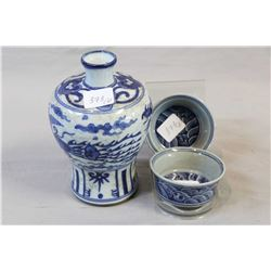 """Pair of blue and white flat tea cups and a 6"""" blue and white scholars vase"""