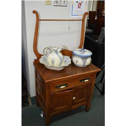 Antique Canadiana harp back washstand with two doors and single drawer plus wash basin, jug and comm
