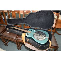 Johnson hollow electric resonator guitar with teal powder coated finish including hard case