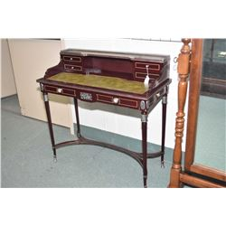 Antique style French writing desk with inset cameos decoration and leather writing surface