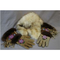 Pair of leather and fur gauntlets with glass bead embroidery and a fur hat