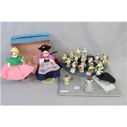 """German made wooden angels choir made by Erzgebirge and a boxed set of Madame Alexander 8"""" dolls in P"""