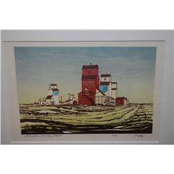 "Framed limited edition silk screen print title ""Elevators, Radway, Alberta"" pencil signed by artist"