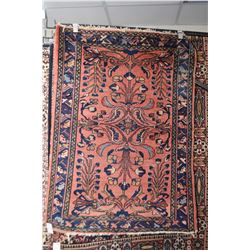 """Wool throw rug with salmon coloured background, shades of blues, rust, taupe etc. 41"""" X 53"""""""
