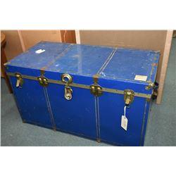 Vintage metal steamer trunk, lock has been broken open, latches are intact