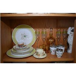 Shelf lot of collectibles including Staffordshire dogs, Royal Worcester egg coddlers, lustre tea set