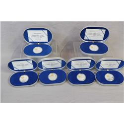 Six Canadian boxed sterling silver coins inset with 24kt gold cameos, all $20 including The Ansom an