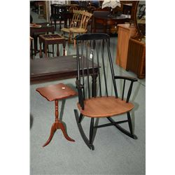 Black spindle back, open arm rocker with natural seat and a semi contemporary wine table