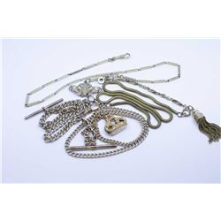 """Collection of five gold filled pocket watch chains, various lengths including three 18"""", one 12"""" and"""
