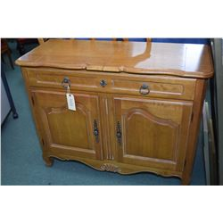 French country style server with two doors and one divided drawer with cutlery insert and fold over