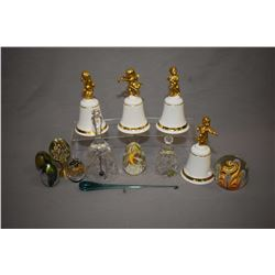 Selection of collectible bells and paperweights including Royal Doulton, Baccarat crystal, Waterford