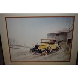 """Two framed prints including one of a vintage car and a signed limited edition car """"How many sacks of"""