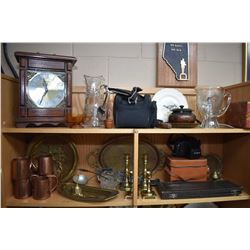 Two shelf lots of collectibles including quartz mangle clock, Iris and pinwheel glass pitchers, digi