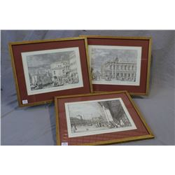 Three framed prints of etchings from the Royal Library at Windsor castle featuring scenes of Venice
