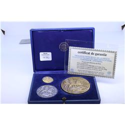 Vintage boxed set of Unesco medallions to commemorate the archaeological site of Chartage, Tunsia in