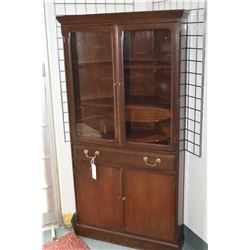 Mid 20th century walnut corner display cabinet with two glazed doors and storage cupboard with drawe