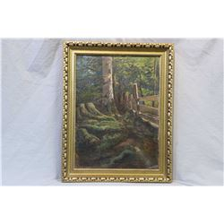 """Gilt framed original oil on board painting of a treed fence line, no artist signature seen, 18"""" X 14"""