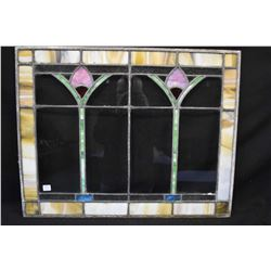 """Vintage tulip motif stained glass window 28"""" X 22"""" to match lot 484"""