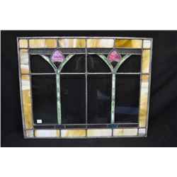 """Vintage tulip motif stained glass window 28"""" X 22"""" to match lot 483"""