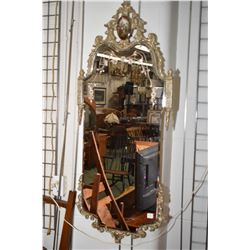 """French etched mirror with pictorial cameo, 44"""" in height"""