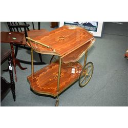Italian marquetry inlaid tea wagon with bottle galley on lower level