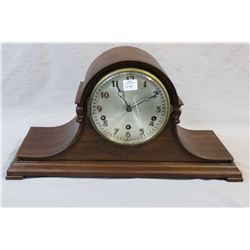 German made wooden top hat chiming mantle clock, working at time of cataloguing