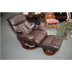 Modern swivel recliner and ottoman with storage for remote controls
