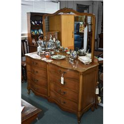 """French provincial bedroom suite including eight drawer mirrored dresser, five drawer highboy and 54"""""""