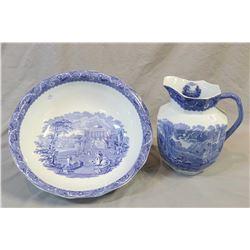Vintage English Cauldron Ware ironstone wash basin and water jug