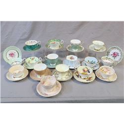 Sixteen collectible tea cups and saucers including Aynsley, Foley, Royal Stafford, Royal Grafton, Pa