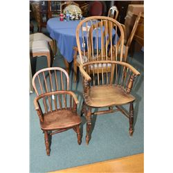 Father and Son antique spindle back armchairs