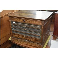 "Antique oak six drawer ""Rickards Pure Dye silk"" counter top retail cabinet"