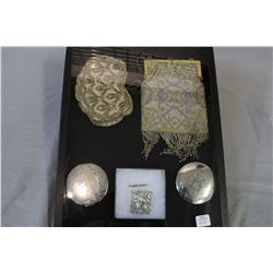 Two sterling silver compacts, note one with broken mirror, and vintage beaded purses