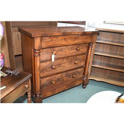 Victorian matched grain walnut four drawer bedroom chest