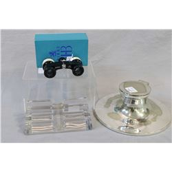 Cased Birks 3X opera glasses with mother-of-pearl enhancements, pressed glass pen rack and a silver