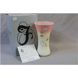 """Burmese sanded hand-painted Fenton glass signature vase signed by artist D. Fredrick 10"""" in height"""