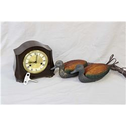 Small Smiths bakelite chiming mantle clock with original key, and a pair of duck motif electric lamp