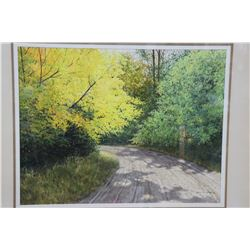 """Framed original watercolour and gouache painting titled """"Promise of Autumn"""" signed by artist Grant H"""