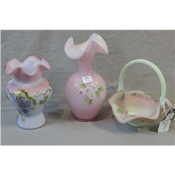 Three pieces of Fenton glass including Lotus mist Burmese decorated basket with family signature Geo