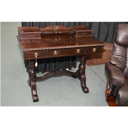 Quality mid 20th century five drawer writing desk with beaded edging, small galley shelf and origina